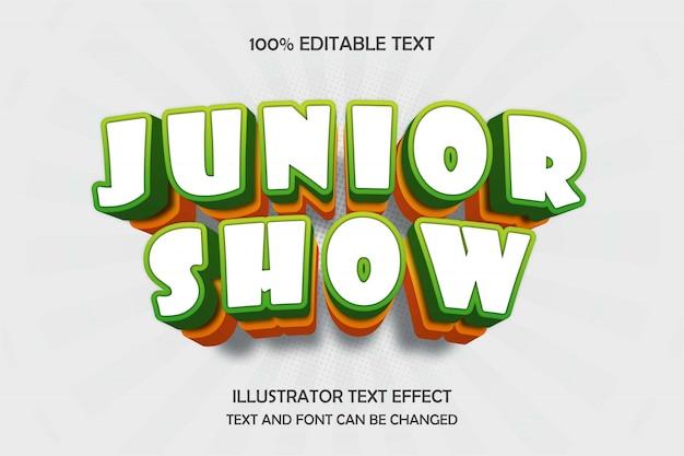 Junior show,3d editable text effect green yellow modern shadow comic style Premium Vector