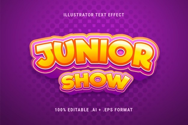 Junior show text effect Free Vector