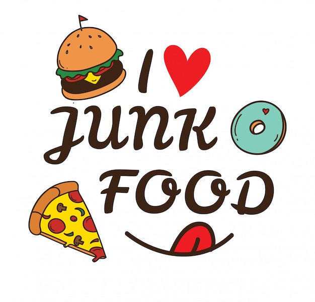 Junk food doodle illustration Premium Vector