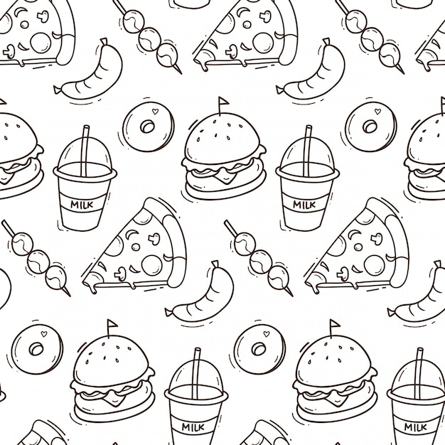 Junk food seamless background in doodle style illustration Premium Vector