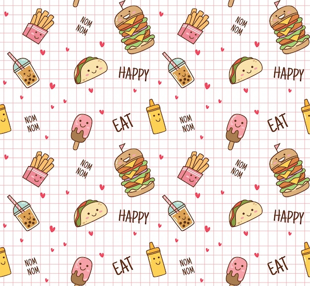 Junk food seamless background Premium Vector