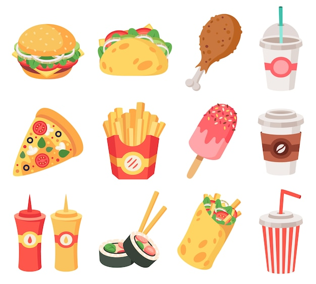 Junk street food. fast food, doodle takeaway food and snacks, french fries, coffee, pizza. high calorie junk food   icons set. pizza and burrito hamburger, soda fastfood illustration Premium Vector