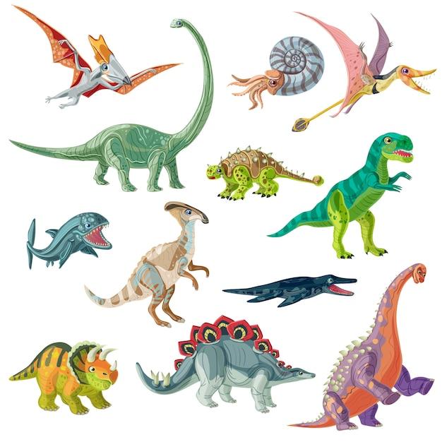 Set animali del periodo giurassico Vettore gratuito