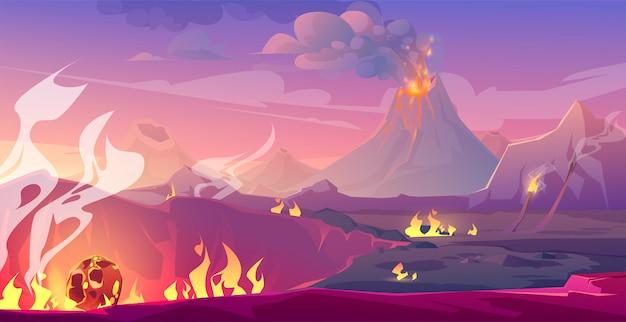 Пейзаж юрского периода с вулканом и метеором Бесплатные векторы