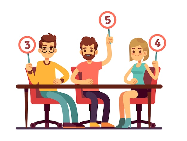 Jury judges holding scorecards. quiz people show competition vector concept. jury group committee, holding scorecard with number illustration Premium Vector