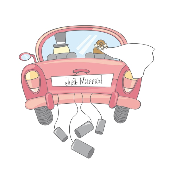Just married car isolated vintage vector illustration Premium Vector