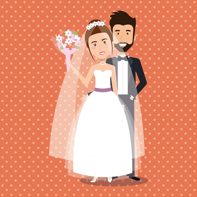 Just married couple avatars characters Free Vector