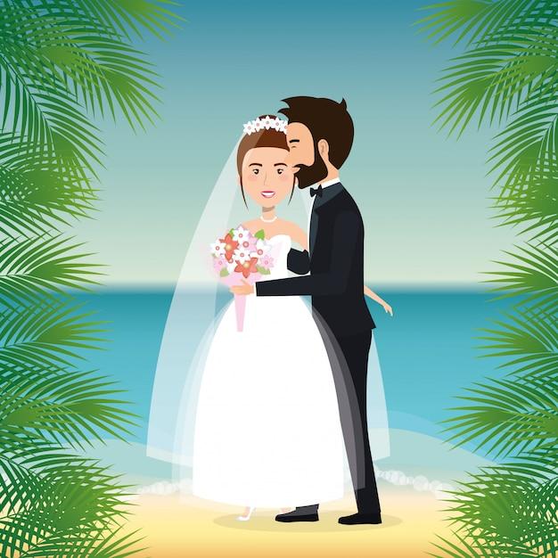 Coppia di sposi in spiaggia Vettore gratuito