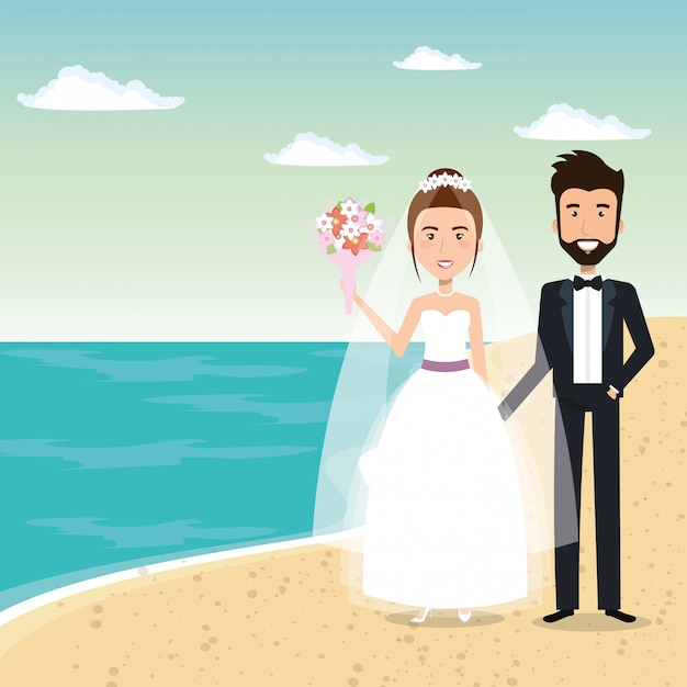 Just married couple in the beach Free Vector