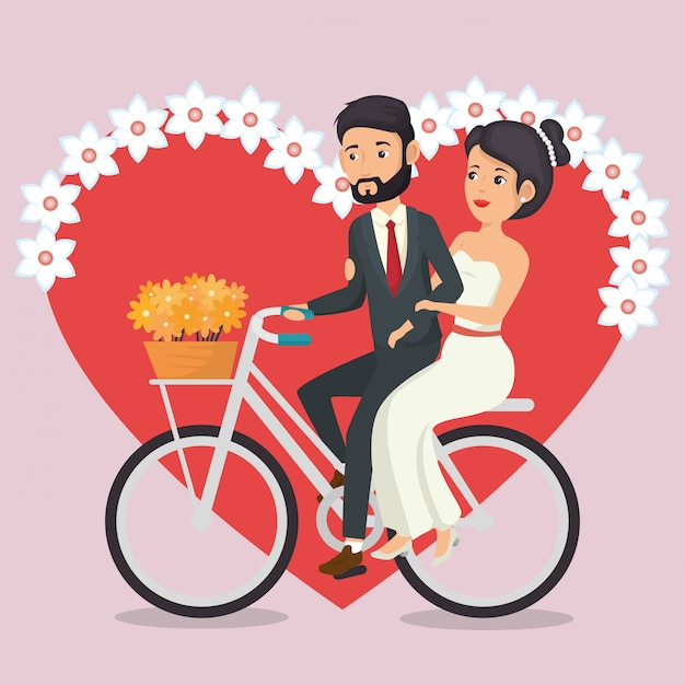 Just married couple in bicycle avatars characters Free Vector