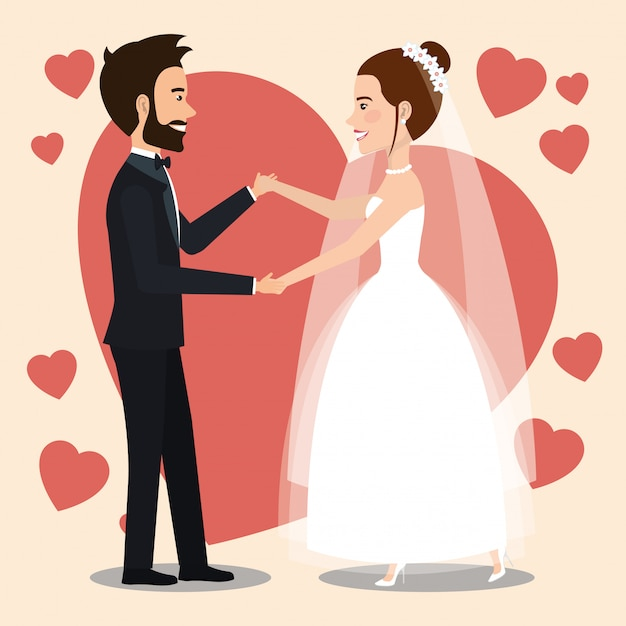 Just married couple dancing avatars characters Free Vector