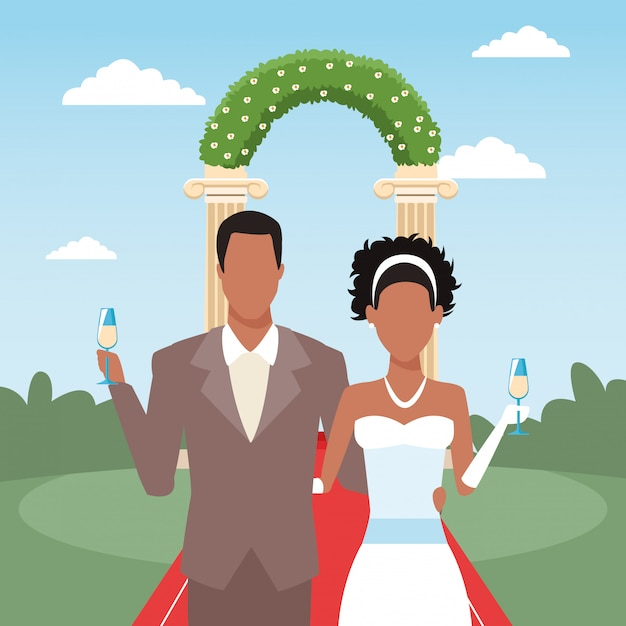 Just married couple holding champagne glasses, colorful design Premium Vector