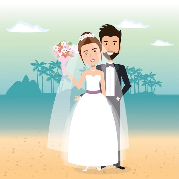 ビーチでちょうど結婚されていたカップル 無料ベクター
