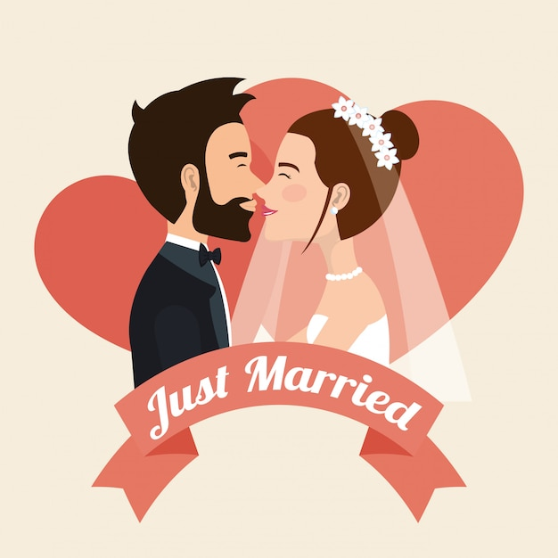 Just married couple kissing avatars characters Free Vector