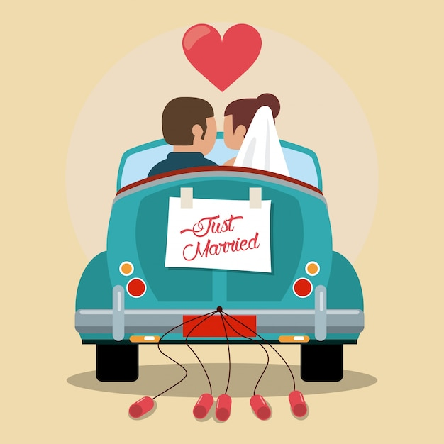 just married couple in love car  premium vector