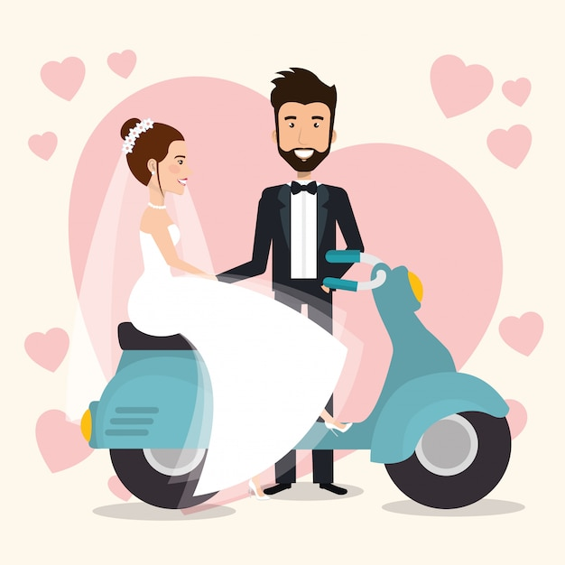 Just married couple in motorcycle avatars characters Free Vector