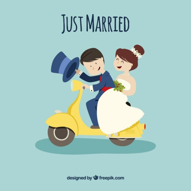 Just married couple on a motorcycle Free Vector
