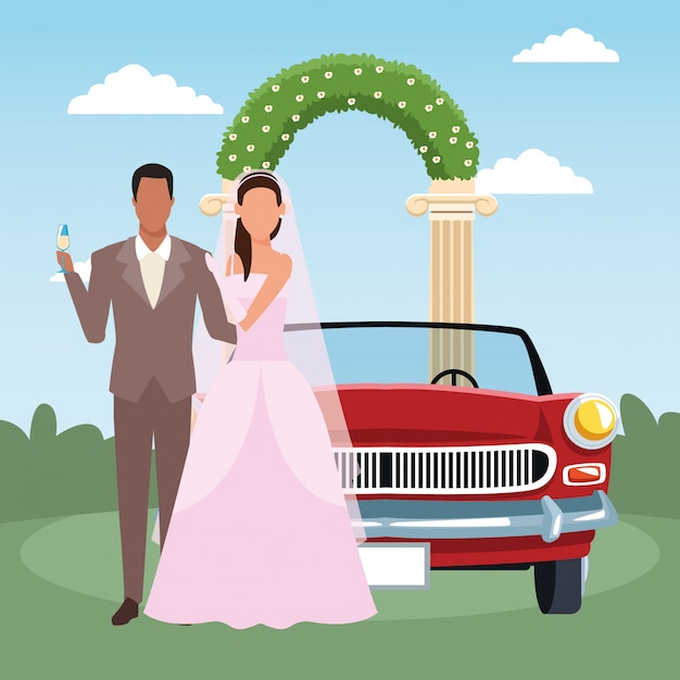 Just married couple standing and classic car over floral arch and landscape Premium Vector