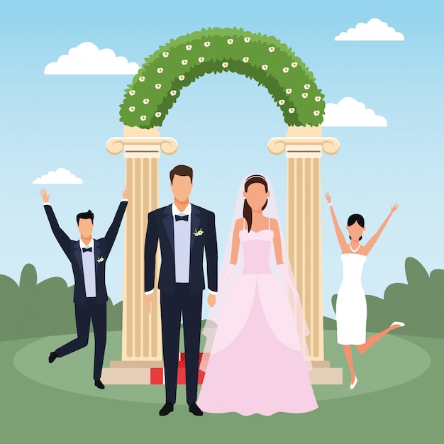 Just married couple standing and other married couple excited over floral arch Premium Vector