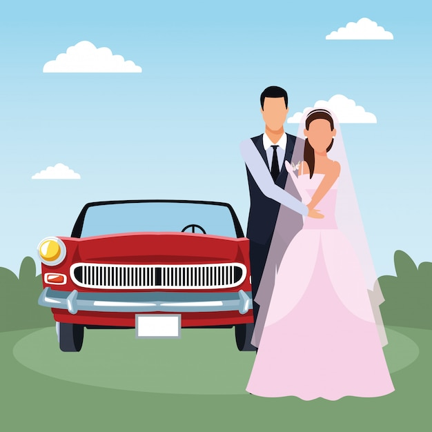 Just married couple standing and red classic car over landscape Premium Vector
