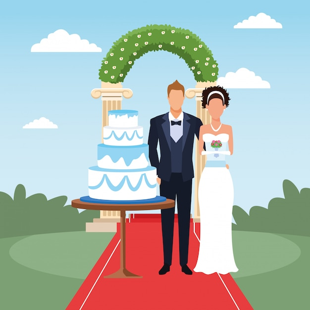 Just married couple standing with wedding cake and floral arch around, colorful design Premium Vector