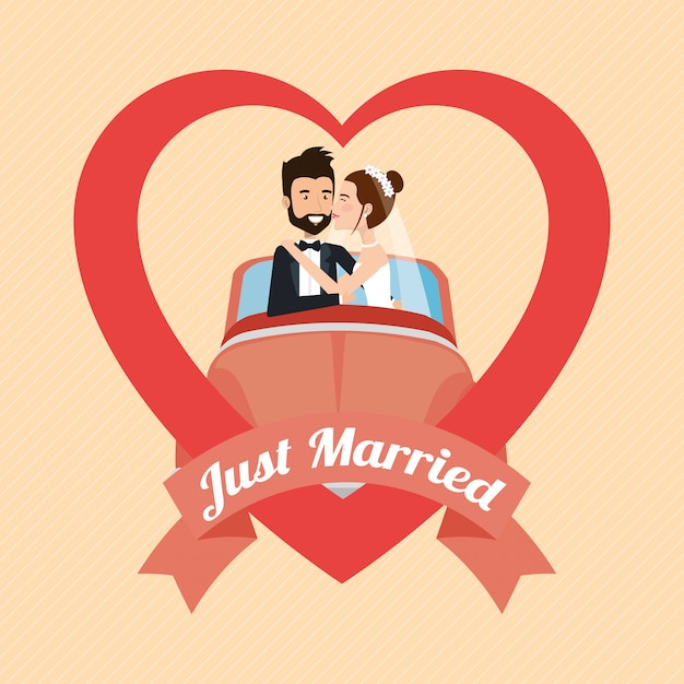 Just married couple with car avatars characters Free Vector