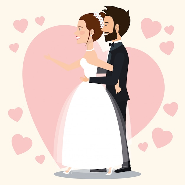 Just married couple with hearts avatars characters Free Vector