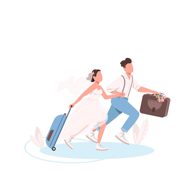 Just married couple with suitcases flat color faceless characters Premium Vector