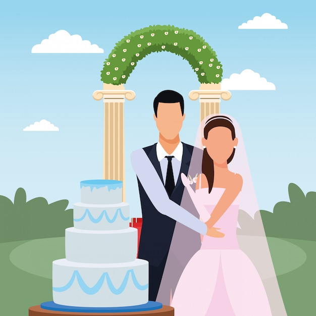 Just married couple with wedding cake and floral arch around, colorful design Premium Vector