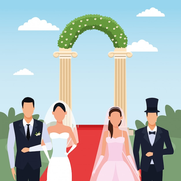 Just married couples standing over floral arch and landscape Premium Vector