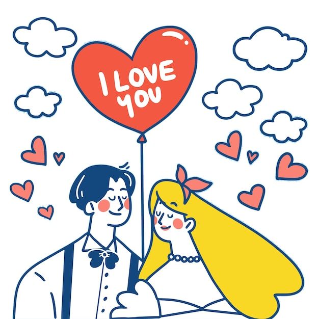Just married gift card doodle illustration Premium Vector