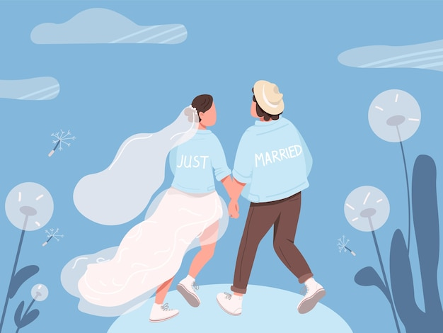 Just married happy couple flat color illustration Premium Vector