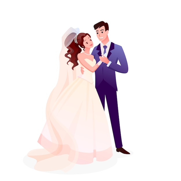 Just married happy man woman characters standing together, cute romantic bride and groom on wedding Premium Vector