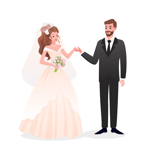 Just married happy man woman characters standing together, wedding day party celebration Premium Vector