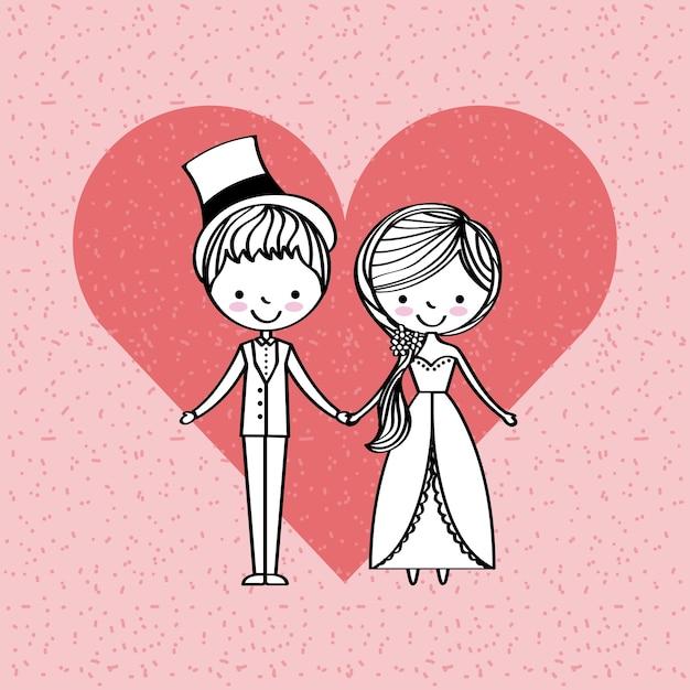 Just married happy Premium Vector