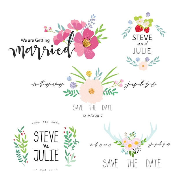 Just married label collection Free Vector