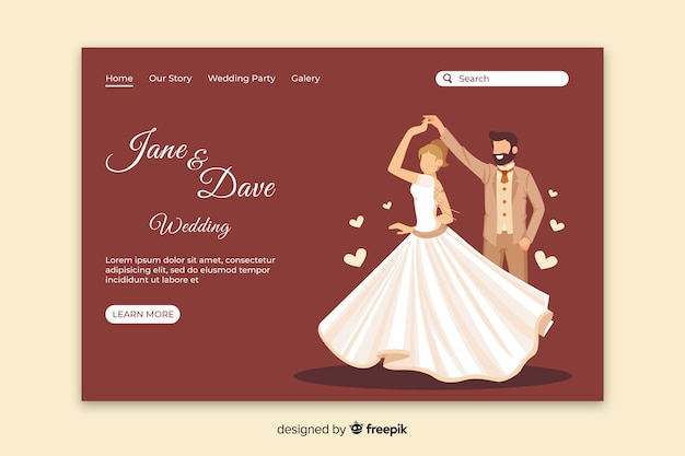Just married landing page template Free Vector