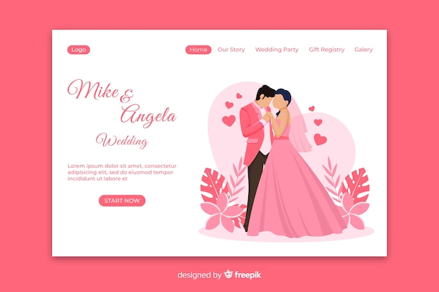Just married landing page template Premium Vector