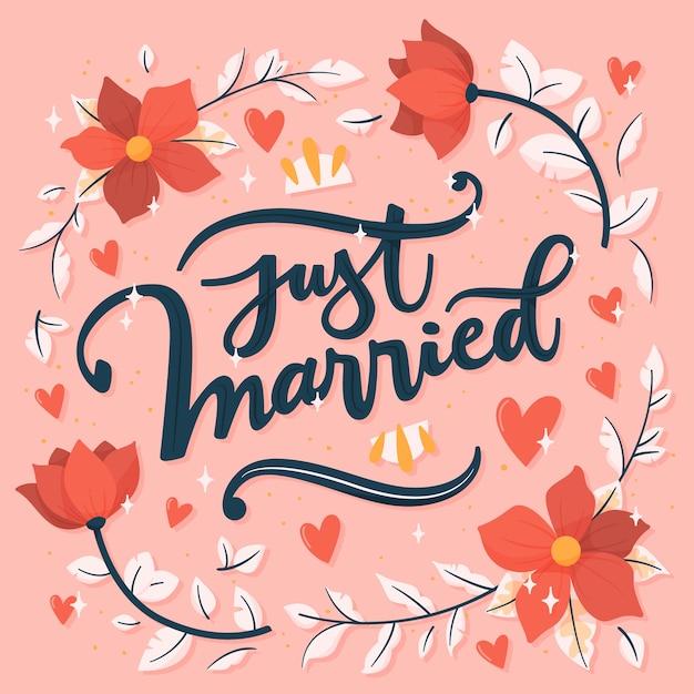 花と結婚したばかりのレタリング 無料ベクター