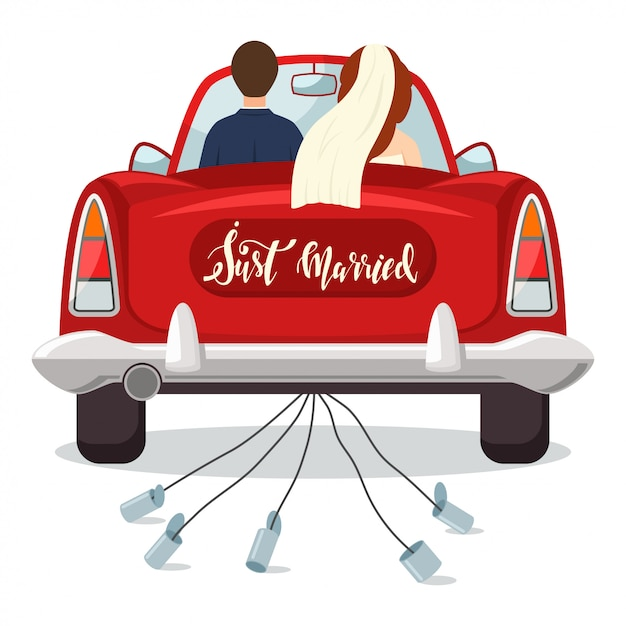 Just married red car with the bride and groom. wedding  illustration with a newlywed couple isolated on a white background. Premium Vector