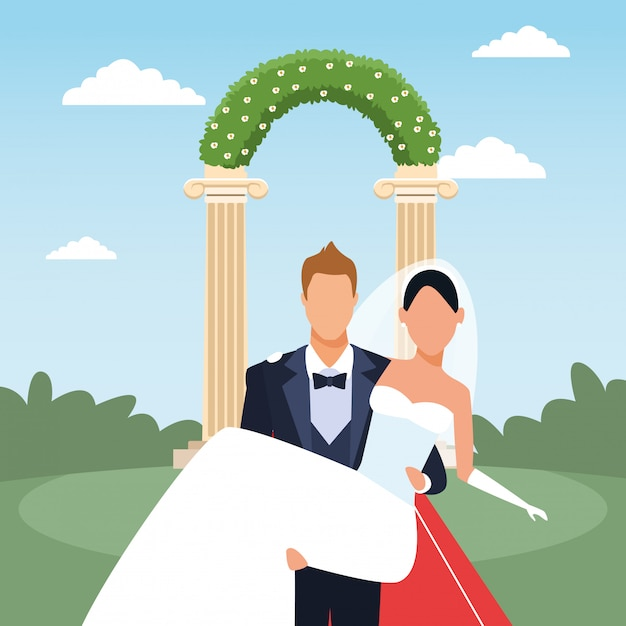 Just married scenery with groom holding bride in his arms Premium Vector