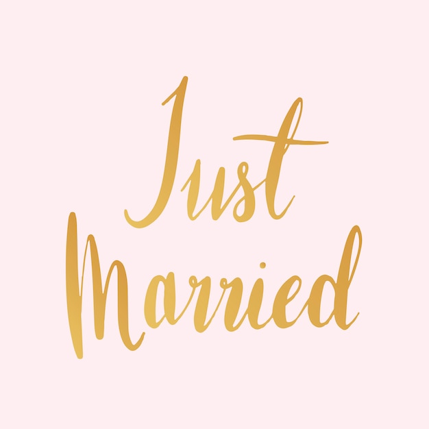 Just married typography style vector Free Vector