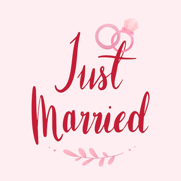 Just married typography vector in red Free Vector