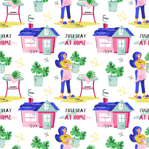 Just stay at home. young smiling girl with blue hair growing plants. coronavirus pandemic self isolation, protection. flat colourful vector seamless pattern texture wallpaper isolated on background. Premium Vector