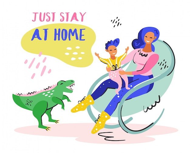 Just stay at home. young smiling girl with little kid on the chair. green cute dino. coronavirus pandemic self isolation, protection. flat colourful vector illustration isolated on white background. Premium Vector