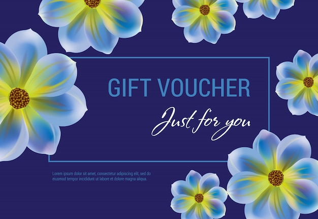 Just for you gift voucher with flowers and frame on dark blue background. Free Vector
