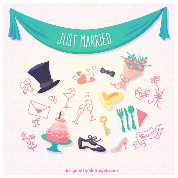 Justa married elements Free Vector