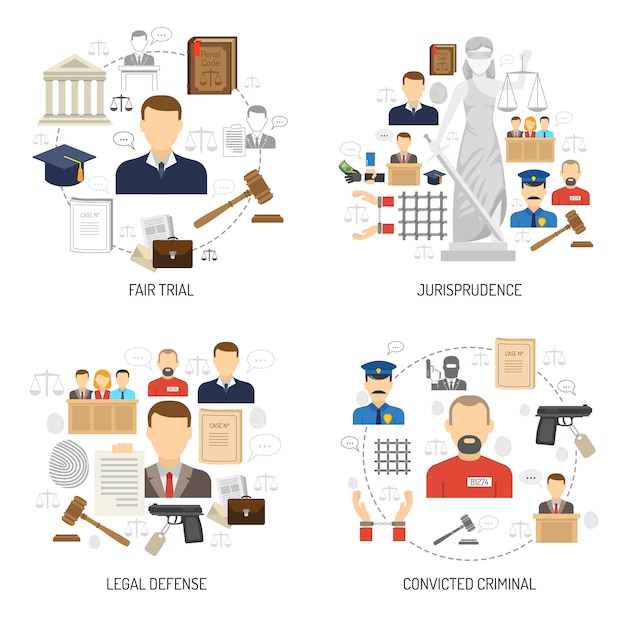 Justice 4 flat icons square banner Free Vector