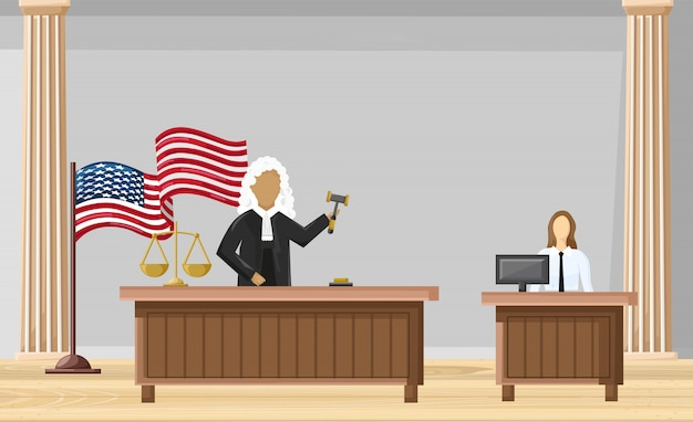 Justice court flat style. law orders brochure Premium Vector