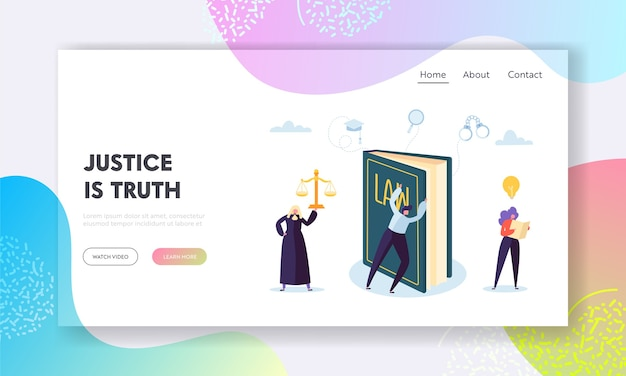 正義は真実のランディングページです。 Premiumベクター